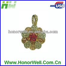 Jewelry Golden Fine Flower Usb Flash Drive Flash Thumb Flash