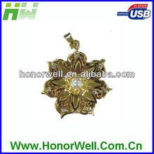 Jewelry Golden Pearl Fine Flower Usb Flash Drive Flash Thumb Drive