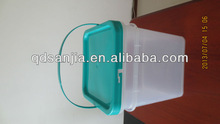 clean plastic food square pail with handle and lid sealed plastic aquare pail bucket