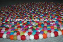 High Quality Handmade Wool Felt Ball Carpets/Rugs/Nepali Felt Carpet
