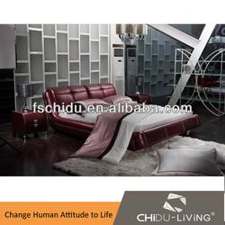 A9022 king size bed bedroom furniture, leather bedroom, foshan furniture manufacturers