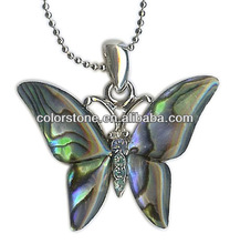 Large Shell Butterfly Pendant Beautiful Abalone Shell Silver Butterfly Pendant Necklace abalone sea shell silver toned butterfly