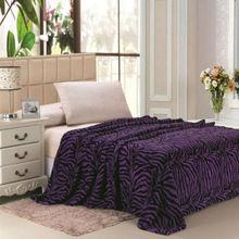 Zebra Animal Purple/Black Blanket Bedding Throw Fleece King Super Soft