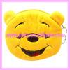Cute kids laugh bear shape animal plush mini coin pouch with key chain AAC-1474
