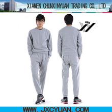 custom oem men plain cotton fleece sweat suits made in China