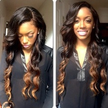 Body wave two tone wig human hair wig with bangs1b#/4#for african american 24inch ombre lace wig
