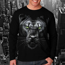 Wellcoda   Majectic Panther Animal Big Face Funny Mens Long Sleeve T-Shirt NEW Tee 100% Cotton Top S-2XL Size