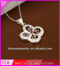 Newest design famous design flower gemstone 925 sterling silver jewelry necklace FN408 with france style