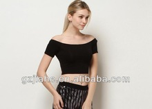 2014 Hot casual T-shirt summer sexy boat neck T--shirt