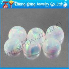 Round cabochon white syethetic loose opal gemstones