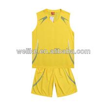 Yellow color basketball shirts basketball jersey uniform design basketball tank top wholesale