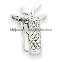 white gold polished 3D golf bag & clubs sports charm