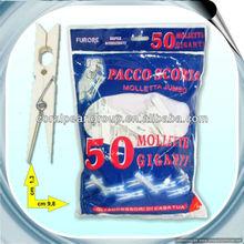 50pcs White Big Plastic Clothes Pegs