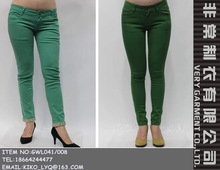Wholesale lady bright colored denim pants skinny colorful women's jeans