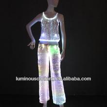 ladies party dance long hot sale fiber optic pants