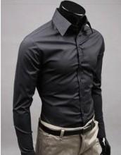 Black men office long sleeve shirt