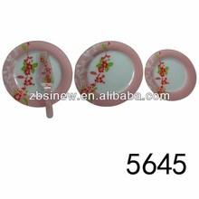 Flower Design Glass Round Plates With Cake Server