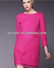 fall winter new arrival fashionable fancy pink women office dress ladies mini executive cotton dress