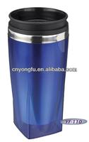 Square shape S/S travel mug with handle