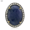 Oval Shaped Blue Sapphire 18k Gold Pave Diamond Connector Finding Jewelry