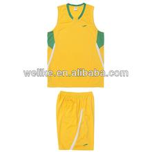 New sports vest custom high school basketball jerseys yellow basketball shirts set