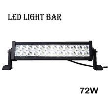 Super bright offroad led light bar 72w 4x4 off road lights bar 4wd led bar light