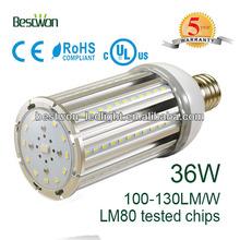 Aluminum heatsink without fan 360 degree 36w E27 led corn light Replace 100-450w HPS CFL Metal Halide Incandescent lamp