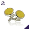 Round yellow enamel red painting brass wholesale cufflinks