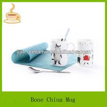 cats design decal thin bone china mug/cups,promotional ceramic mug,decorative coffee mugs