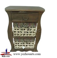 2014 new design hot selling antique paulownia wood cabinet with two corn husk cabinet wooden multi drawer