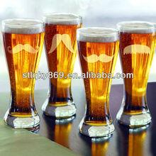 Gentleman's Mustache Pilsner Beer Glasses Fun Bar Premium Drinkware Funny Pilsner Beer Glasses