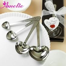 A8193 Wholesale Hot Seller Metal 4 Pieces/Set Heart Shaped Unique Measuring Spoons