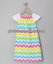Wholesale fashion design baby girl's chevron dresses colorful boutique chevron prints dresses for kids girls children wear