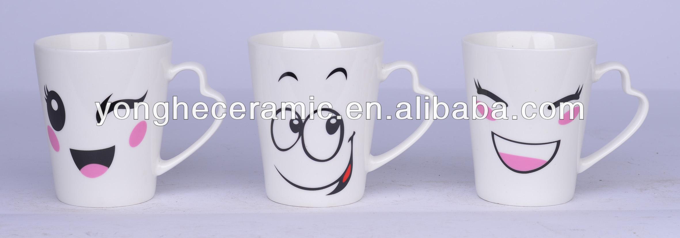 Coffee Emoji Cute Face Emoji White Ceramic Mug Set