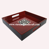 Eco friendly traditionally handpainted vietnamese red & black lacquered wooden utensil trays with seashell inlay