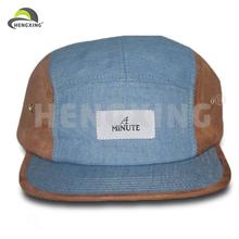 Suede And Denim Adjustable Plastic Strap Weaving Cap