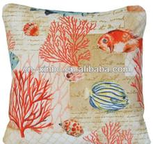 Orang Coral Cushion Pillow Cover Fabric Fish Blue Sea Ocean Summer Home House