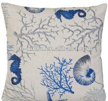 Blue Coral Cushion Pillow Cover Fabric Fish Sea Ocean Oatmeal Summer Home House