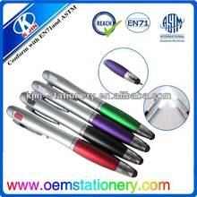 ball pen with led light/ plastic ball pen for kids/color pen set metal