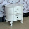 estilo francês nightstand moderna laca branca armários quarto design oval armário da sala de móveis de madeira