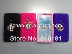 Mix Color Card Slot Silicon Crown Case Cover For Nokia Lumia 520