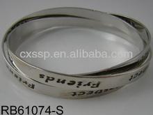 Factory custom made OEM design multi plain silver bangle with brand logo engraved
