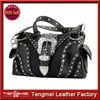 Rhinestone Studded Buckle Western Purse Fashion Genuine Leather Handbag