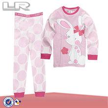 Hot Selling Super Sweet Children Girls' Printed Cotton Pajama Set- Sweet Bunny