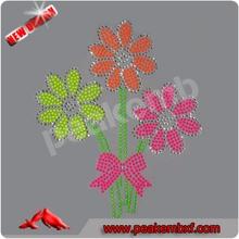 2014 Hot Fix Rhinestone Design Flowers Neon color Half Round Nailheads Iron on