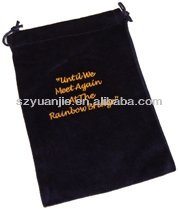 drawstring black velvet cotton bag factory