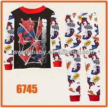 Boy Spiderman Clothing Set Kid Blue Autumn -Summer Pajams Sets New 2014 Wholesale 2-7Y Cuddle me Cotton Sleepwear 6745