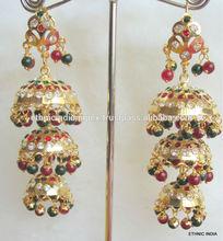 Jhumka Gold plated Jadau light weight maroon green beads dangler EARRINGS