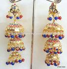 Jhumka Gold plated Jadau light weight blue beads dangler EARRINGS