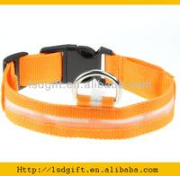 Orange adjustable safety led dog collar with 5piece led light
